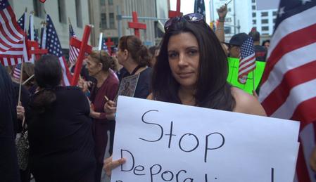 Angela Daoud at deportation protest.png