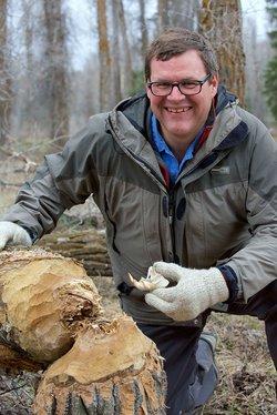 Presenter Kirk Johnson with tree felled by beavers c. Tim Martin.jpg