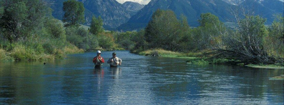 Anglers on a spring creek tributary of Dan Bailey's Yellowstone.