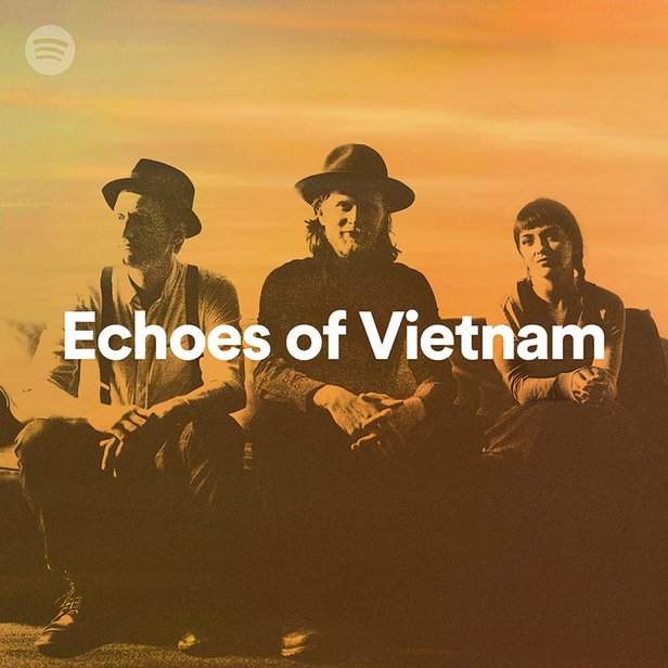"A promotional image of the band The Lumineers with the text ""Echoes of Vietnam"" overlaid"