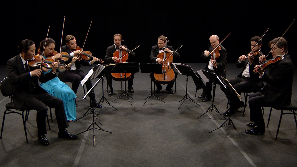 The musicians of CMS perform a triumphant version of Mendelssohn's Octet.