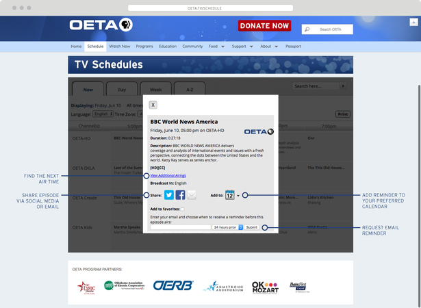 OETA Schedule Page Description