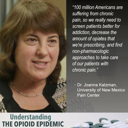 """""""100 million Americans are suffering from chronic pain, so we really need to screen patients better for addiction, decrease the amount of opiates that we're prescribing, and find non-pharmacologic approaches to take care of our patients with chronic pain."""