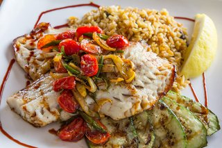 Local sea bass served at George's of Galilee