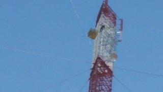 Antenna installation at 790 feet above ground level