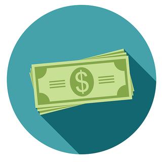 A circular image displaying an illustration of a stack of dollar bills