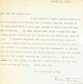 Willa Cather typed the letter to F. Scott Fitzgerald.