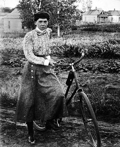 Louise Pound with bike